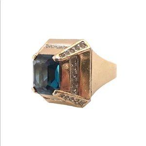 Vtg Panetta Simulated Blue Sapphire Sterling Ring
